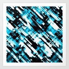 Hot blue and black digital art G253 Art Print