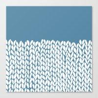 Half Knit Blue Canvas Print