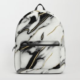 Classic White Marble Gold Foil Glam #1 #marble #decor #art #society6 Backpack