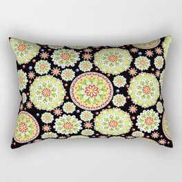 Lotus Mandala allover black ground Rectangular Pillow