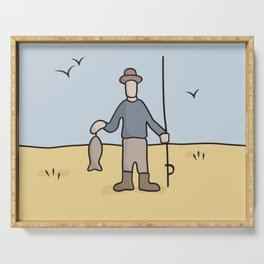 Beavid and Butthead Fisherman picture Serving Tray