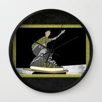 skateboard Wall Clocks featuring Skateboard 14  by Aquamarine Studio