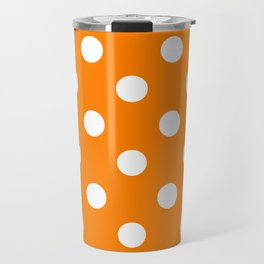 Polka Dots - White on Orange Travel Mug