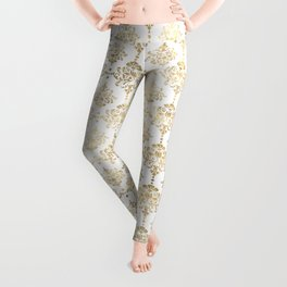 White & Gold Motif Leggings