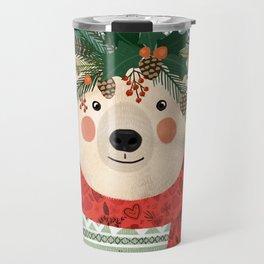 Polar Bear With Christmas Flowers Travel Mug