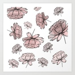 Hand Drawn Peonies Dusty Rose Art Print