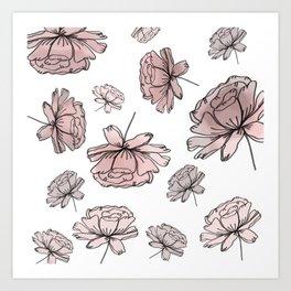 Hand Drawn Peonies Dusty Rose Art Print