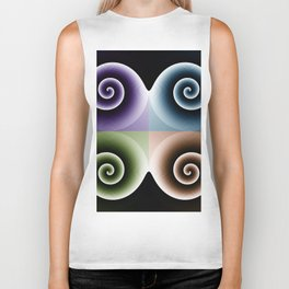Orange Blue Purple Green Spiral Abstract Art Biker Tank