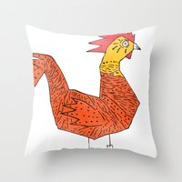 rooster Throw Pillows featuring rooster by Matt Edward