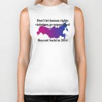 bisexual Biker Tanks featuring Boycott Sochi - Bisexual Flag Gradient by Boycott Sochi