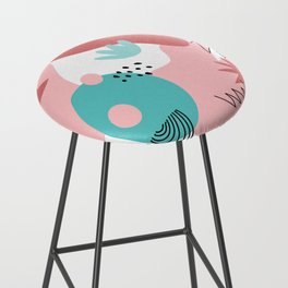 Teal and Pink Geometry Bar Stool