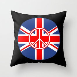 Brit Flag Peace Sign Roundel Throw Pillow