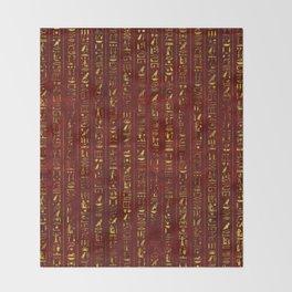 Golden Egyptian  hieroglyphics on red leather Throw Blanket
