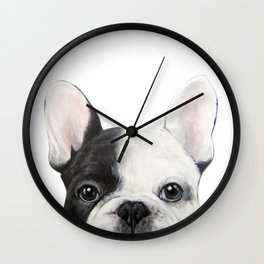 French Bulldog, Original acrylic painting by miart Wall Clock