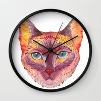 cat coquillette Wall Clocks featuring cat by Ola Liola