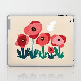 Poppy flowers and bird Laptop & iPad Skin