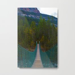 Suspension Bridge along the Berg Lake Trail in British Columbia, Canada Metal Print
