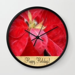 Mottled Red Poinsettia 2 Happy Holidays S2F1 Wall Clock