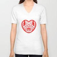 valentine V-neck T-shirts featuring Valentine by Akoala