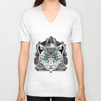 snow leopard V-neck T-shirts featuring Snow Leopard by chobopop