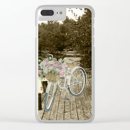 White Vintage Bicycle on a Pier in Oulu Finland Clear iPhone Case