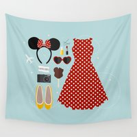 minnie Wall Tapestries featuring Minnie Mouse Flatlay by laurenschroer