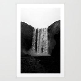 The Waterfall (Black and White) Art Print