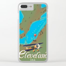 Cleveland,Ohio Travel poster art print Clear iPhone Case