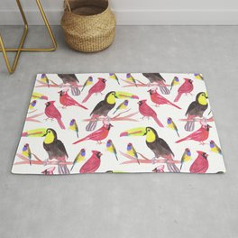 Toucans, cardinals and gouldian finch in tetrad color scheme Rug