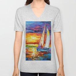 Sailboat at dawn Unisex V-Neck
