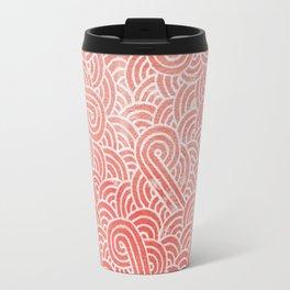 Peach echo and white swirls doodles Travel Mug