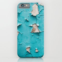 Blue old urban wall with cracked and grunge texture, weathered concrete structure close up view. iPhone Case