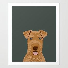 Airedale Terrier cute pet portrait dog art customizable dog breeds animal fur baby illustration dogs Art Print