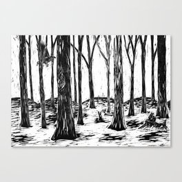Woodland Woodcut Canvas Print