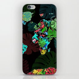 world map tropical leaves iPhone Skin