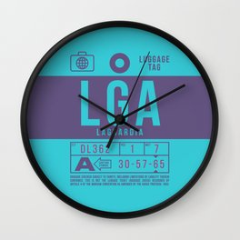 Baggage Tag B - LGA New York LaGuardia USA Wall Clock