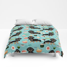 dachshund sushi black and tan doxie dog breed cute pattern gifts Comforters