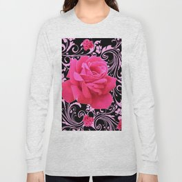 ORNATE  BLACK & PINK ROSE GARDEN PATTERN Long Sleeve T-shirt