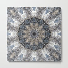 Fox 4 Kaleidoscope Mandala Chakra Metal Print