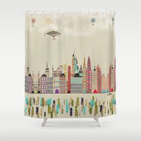 england Shower Curtains featuring visit london england by bri.buckley