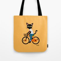 cycling Tote Bags featuring Summer cycling by BATKEI