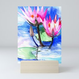 Pink Water lilies , lotus, lily pad, Bright Pink Blue Floral Mini Art Print