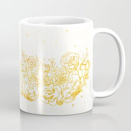 Sparkling Golden Crown Flowers Coffee Mug