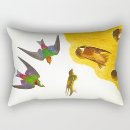Bank Swallow and Violet-green Swallow John James Audubon Scientific Vintage Illustrations Of America Rectangular Pillow
