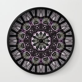 Mandala in black and white with hint of purple and green Wall Clock