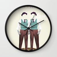 twins Wall Clocks featuring TWINS by Nazario Graziano