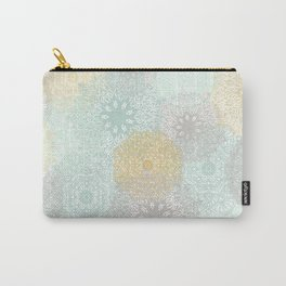 Floral Mandala Blooms Fall, Yellow, Aqua,Gray Carry-All Pouch