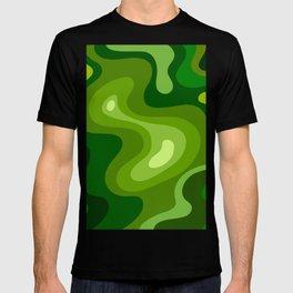 Multi Color Green Liquid Abstract Design T-shirt