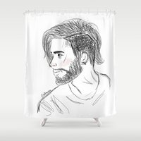 zayn Shower Curtains featuring Scribble Zayn by LizDrawsss