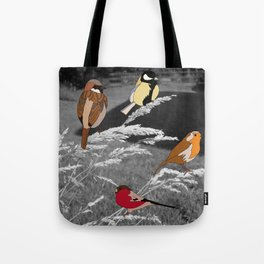 Birds on Grass Tote Bag